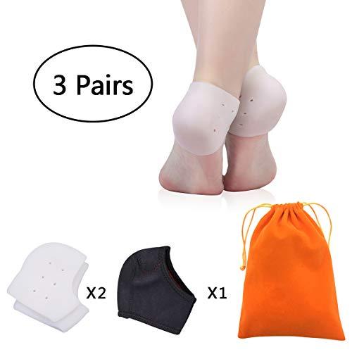 Plantar Fasciitis Heel Cushion Foot Sleeve Heel Pads Heel Support Arch Support Soft Silicone Heel Sleeve Relieve Foot Pain and Metatarsal Pain Plantar Fasciitis Socks 3 pairs