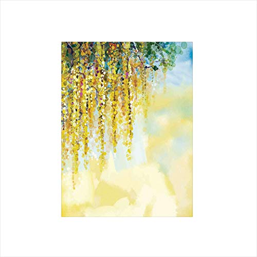- Ylljy00 Decorative Privacy Window Film/Charms of Golden Color Wisteria in Sunny Day Artistic Print/No-Glue Self Static Cling for Home Bedroom Bathroom Kitchen Office Decor Yellow Light Blue Green