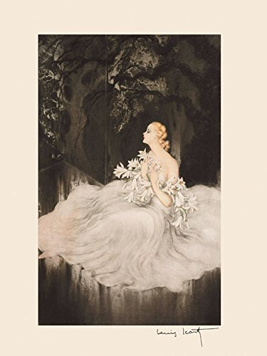 Fashion Blond Lady Girl Lily Flowers White Dress by Louis Icart Toulouse France French Artist 12