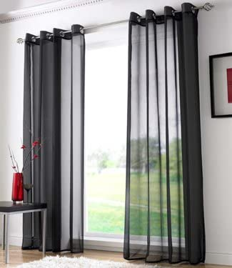 Plain Voile Curtain Panel Ring Top Heading Eyelet Voile Curtains Sheer Voile Panels 59 X 72 Black Amazon Co Uk Kitchen Home