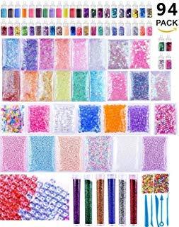 TMO 94 Pack Slime with Charms DIY Slime Supplies Kit Slime Coloring Making Kit Craft Homemade Slime include Fishbowl beads,Foam Balls,Fruit Flower Animal Slices,Pearls and Glitter Jars