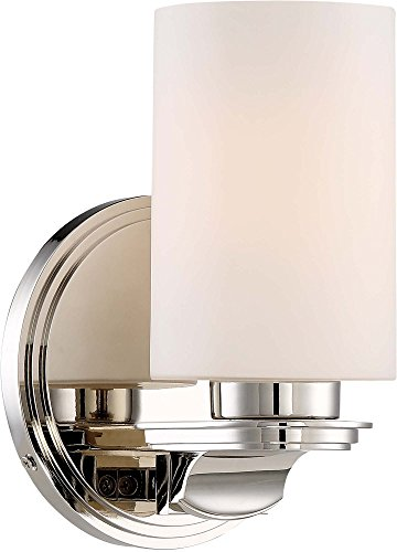 Minka Lavery Chrome Sconce - Minka Lavery Wall Sconce Lighting 3021-613 Arrondir Wall Lamp Fixture, 1-Light 100 Watts, Polished Nickel