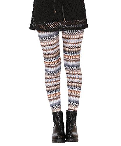 Pop Fashion Women's Winter Stretch Diamond Striped Printed Leggings Tight Pants (One Size - Regular, Striped - Orange, Black, (Kids Black And White Striped Tights)