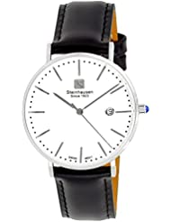 Steinhausen Womens S0618 Classic Burgdorf Swiss Quartz Stainless Steel Watch With Black Leather Band
