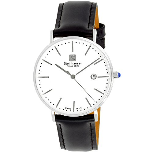 - Steinhausen Women's S0618 Classic Burgdorf Swiss Quartz Stainless Steel Watch With Black Leather Band (Silver/White/Black)