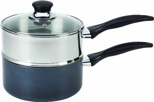 T-fal B13996 Specialty Stainless Steel Double Boiler with Phenolic Handle Cookware, 3-Quart, Silver (Tfal Steamer Insert compare prices)