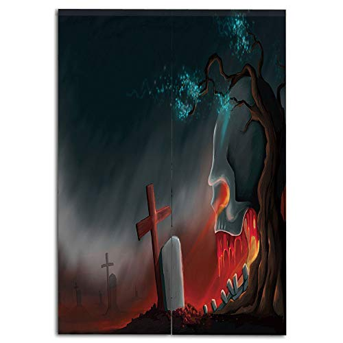iPrint Door Curtain(Two Panels) Drawings Printing,Halloween,Graveyard Cemetery Tree with Evil Skull Tomb Stone Cruciform Creepy Fantastic Decorative,Multicolor,Well Designed for You,W43.3 xH59.1