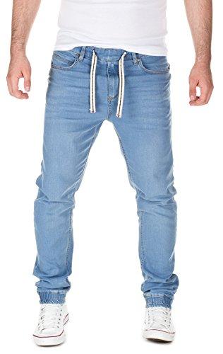 Yazubi Herren Jeans Ash - Bund und Saum mit Gummizug, light blue (30032), W34/L32
