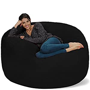 Chill Sack Bean Bag Chair: Giant 5′ Memory Foam Furniture Bean Bag – Big Sofa with Soft Micro Fiber Cover – Black