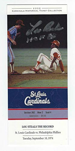 Lou Brock Autographed Signed HOF 85 Autograph St. Louis Cardinals Historical Ticket JSA COA from Sports Collectibles Online