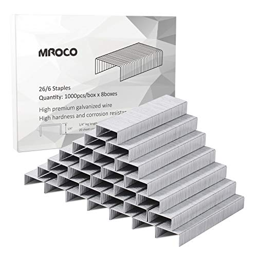 MROCO Staples Standard Staples Premium Staples Chisel Point Staples 1/4 Length 20 Sheet Capacity for Swingline Bostitch Staplers Universal Office Products, 100/Strip, 1000/ Box, Total 8,000 Staples