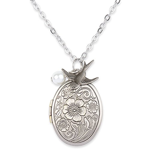Antique Swallow Bird and Pearl Charm Pendant Picture Locket Necklace (Antique Silver)