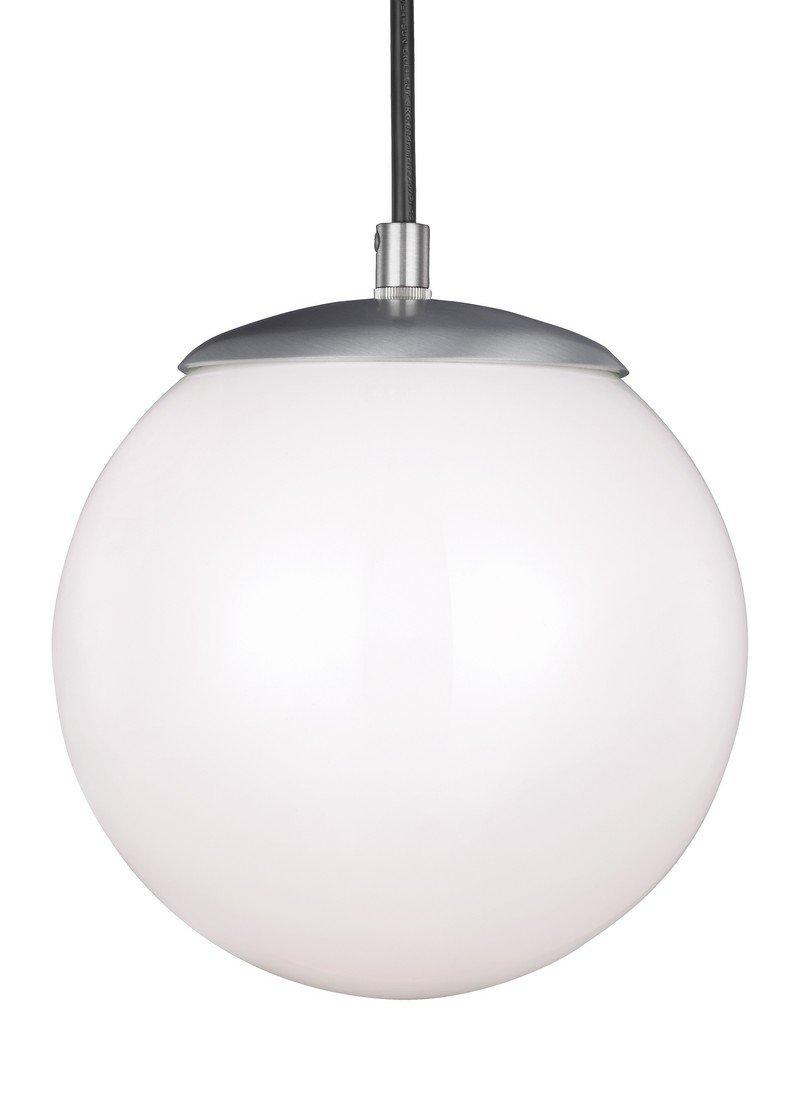 Sea Gull Lighting 6018-04 Leo One-Light 8'' Hanging Globe Pendant, Satin Aluminum Finish