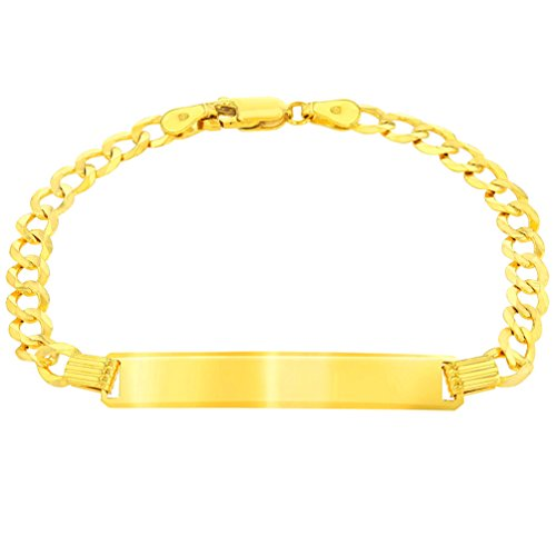 Solid 14K Yellow Gold ID Bracelet with Cuban Concave Chain Curb Link, 6""