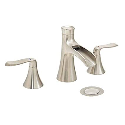 Excellent Wovier Brushed Nickel 8 16 Inch Widespread Waterfall Bathroom Sink Faucet Two Handle Three Hole Lavatory Faucet Basin Mixer Tap With Pop Up Drain Home Interior And Landscaping Transignezvosmurscom