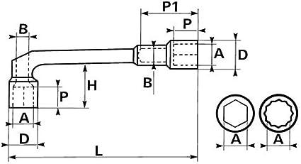 6 y 12 caras SAM Outillage 93-SD12 Llave de pipa pasante