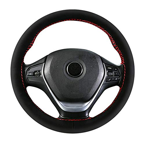 Steering Wheel Cover, Premium Suede Wheel Cover Universal 15 inch Microfiber Leather Sport Steering Wheel Covers Tight Fit and Super Soft (Red) ()