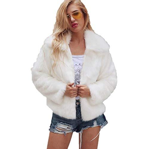 XOWRTE Women's Lapel Collar Faux Fur Coat Warm Winter Jacket Overcoat Outwear
