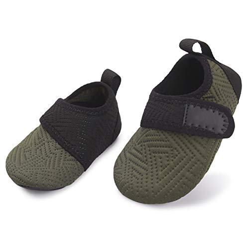 L-RUN Baby Water Aqua Shoes Toddler Swimming Pool Shoes Army 12-18 Months=EU19-20 (Best Swimming Pool Shoes)