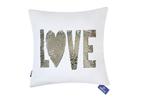 Aitliving Reversible Sequins Pillowcase Love Word Front Pill