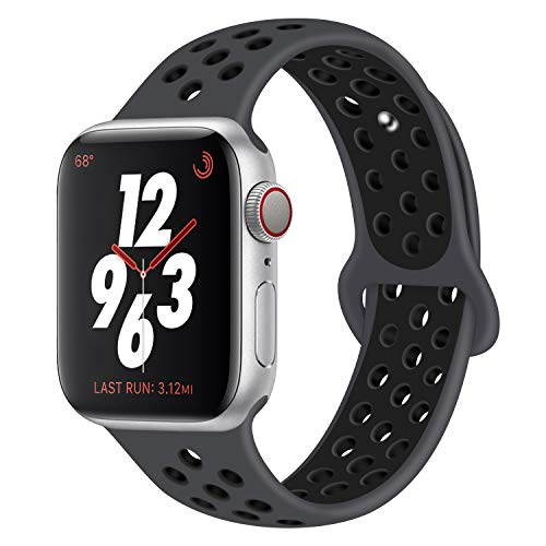 DVEEZIIG Sport Band Compatible with Apple Watch 42mm 38mm,Soft Silicone Bracelet Replacement Wristbands Compatible Apple Watch Sport Series 3 Series 2 Series 1