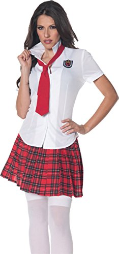 Underwraps Women's School Girl Fitted Shirt, White/Red, Small