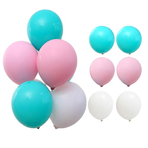(Candy Color Balloons Wedding Party Birthday Latex Balloons 10inch (Tiffany Blue+ Pink +White) )
