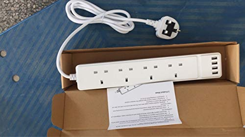 Extension Lead with USB Slots, 4 Way Outlets(13A/3250W) w/ 4 USB Ports(5V, 3.4A), Muti Plug Extension Cord Surge Protection, 2M Wall Mountable Power Strip Socket for Home, Office, Kitchen, PC, White