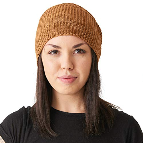 CHARM Silk Slouchy Beanie Womens - Mens Slouch Hat for Summer Chemo Cap 100% Silk Knit Brown ()