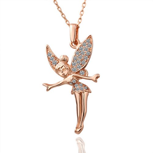 PalkSky 18K Rose Gold Necklace Chain with Fairies,Valentine's Day gift, Christmas ()