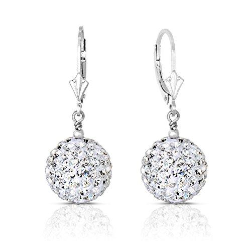 Sterling Silver Dangle Crystal Ball Drop Earrings (14MM)