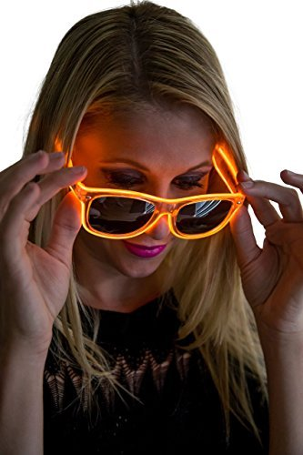 El Wire Costume Tron (Neon Nightlife Orange Frame/Slightly Tinted Lens Wayfarer 55mm Light Up Glasses)