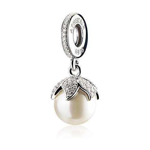 - ATHENAIE 925 Sterling Silver with Pave Clear CZ Luminous Elegance White Pearl Drops Charms for Bracelet