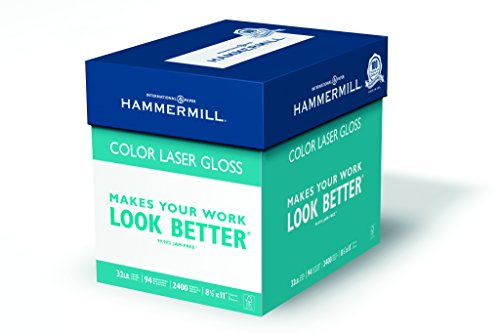 Hammermill Paper, Color Laser Gloss Poly Wrap, 32lb, 8.5 x 11, Letter, 94 Bright, 2,400 Sheets / 8 Ream Case(163110C), Made in the USA