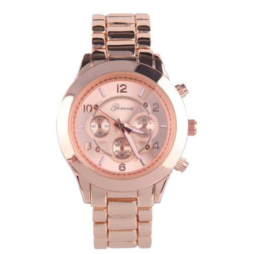 (Geneva Platinum 9158 Women's Decorative Chronograph-style Link Oversized Boyfriend Metal Watch Rose Gold)