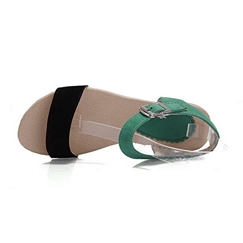 Buckle Flats Open Imitated Green Assorted Women's Heel Sandals Suede VogueZone009 Toe No Color qRf51