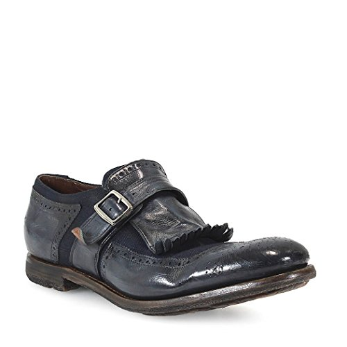 CHURCH'S SHANGHAI GLACE CALF/LINEN DENIM LOAFER