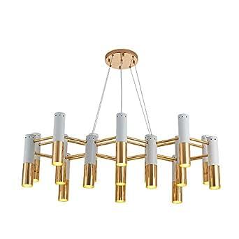 NASN 19 Lights D80cm Delightfull Ike Metal Tube Living Room Dining Room Kitchen Cafe Apartment 3000K LED White Pendant Lights Lamps LED Chandeliers Lights House Lights P804 (White, 19 lights)