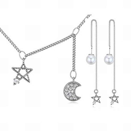 (HOX Simple Micro-Inlaid Zircon Jewelry Set S925 Silver Needle Earrings Necklace Two-Piece Set Moon Stars Sink Jewelry Fashion Aaa Zircon Copper Plated Gold S925 Silver Needle, Tray )