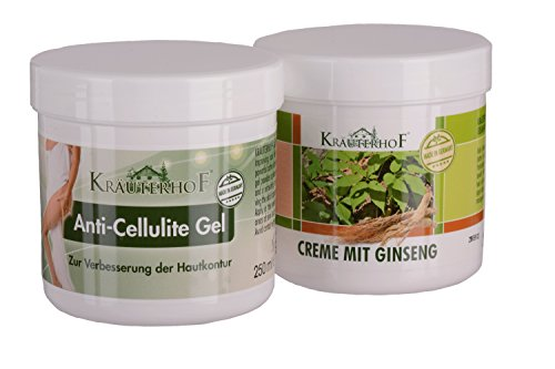 Kräuterhof Wellness Set Anti-Cellulite Gel 250 ml und Creme mit Gingseng 250 ml für trockene Haut plus Massagebürste