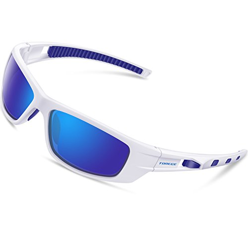 TOREGE Polarized Sports Sunglasses for Man Women Cycling Running Fishing Golf TR90 Unbreakable Frame TR040 (Wihte&Blue&Blue Lens)