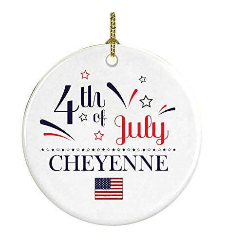 Patriotic Heart Ornament 4Th Of July Decorations For The Home Cheyenne Wyoming Independence Day Decorations Declaration of Independence America Pride Ceramic 3 inches White]()