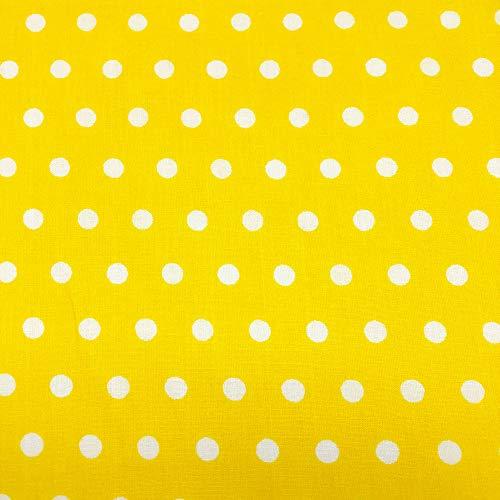 Yellow Polka Dot Fabric - Polka Dot Printed Small Colored Background 100% Cotton Printed Fabric 43/44