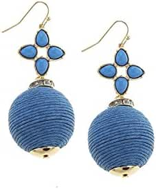 TRENDY FASHION JEWELRY FAUX GEM FLORAL THREAD WRAPPED BALL EARRINGS BY FASHION DESTINATION