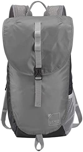 Lewis N. Clark Lightweight Packable Backpack Bag w RFID Pocket, Black Gray, 18 inch
