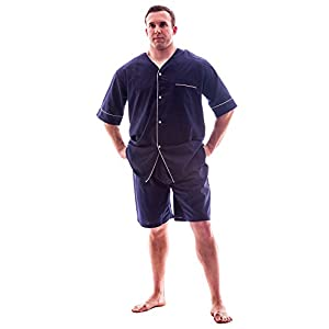 Up2date Fashion Men's Woven S/S Pajama Set with Shorts
