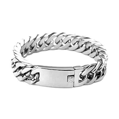 18K White Gold Layered Chain Bracelet for Men 14MM Premium Fashion Jewelry, Resists Tarnishing, US Made 8Inches (Link Mens Bracelet White 14k)