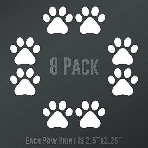 DD893 Dog Paw Prints 8-Pack   Each paw 2.5-Inches By 2.25-Inches   Premium Quality White Vinyl
