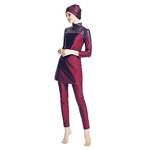 Mr Lin123 Modest Muslim Swimwear Islamic Swimsuit for Women Hijab Swimwear Full Coverage Swimwear Muslim Swimming Beachwear Swim Suit (Red, M) by Mr Lin123