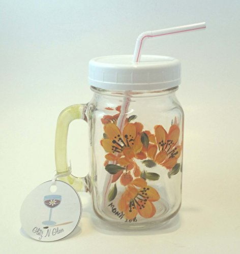 Hand Painted Mason Pint Jar Glass With Yellow Tiger Lillies